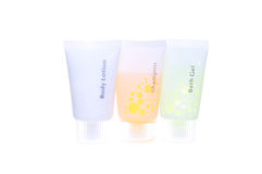 Hotel Amenities - Bath Gel, Shampoo and Body Lotion Stock Photos