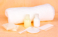 Hotel amenities kit Stock Image