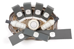 Hotel amenities kit on silver platter Stock Images