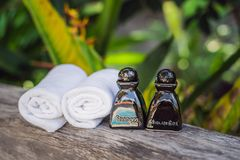 Hotel amenities kit spa, soap, shampoo, towels. Hotel amenities kit spa, soap, shampoo and towels stock images