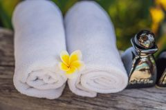 Hotel amenities kit spa, soap, shampoo, towels. Hotel amenities kit spa, soap, shampoo and towels royalty free stock photos