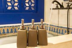 Hotel amenities kit spa, soap and shampoo Royalty Free Stock Image