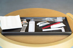 Hotel amenities kit on tray Royalty Free Stock Photos