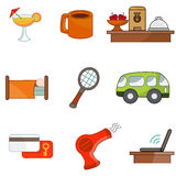 Hotel Amenity Icon Set Stock Photo