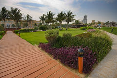 Hotel & stazione balneare della fortificazione di Hamra di Al Fotografia Stock