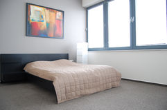 Hotel apartment bed Stock Photos