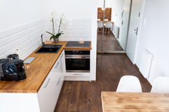Hotel apartment with kitchen Royalty Free Stock Photos