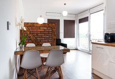 Hotel apartment. Modern compact hotel apartment interior with kitchen, self-catering Royalty Free Stock Image