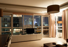 Hotel apartment room night view Stock Photography