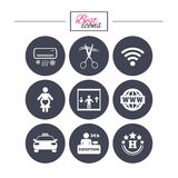 Hotel, apartment service icons. Barbershop sign. Pregnant woman, wireless internet and air conditioning symbols. Classic simple flat icons. Vector vector illustration