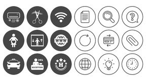 Hotel, apartment service icons. Barbershop sign. Pregnant woman, wireless internet and air conditioning symbols. Document, Globe and Clock line signs. Lamp vector illustration