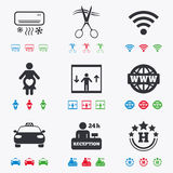 Hotel, apartment service icons. Barbershop sign. Pregnant woman, wireless internet and air conditioning symbols. Flat black, red, blue and green icons royalty free illustration