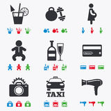Hotel, apartment service icons. Fitness gym Stock Photo