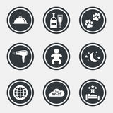 Hotel, apartment service icons. Restaurant sign. Royalty Free Stock Photography
