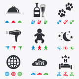 Hotel, apartment service icons. Restaurant sign Stock Images