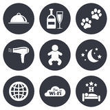 Hotel, apartment service icons. Restaurant sign Stock Photo
