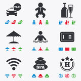 Hotel, apartment service icons. Swimming pool Stock Image