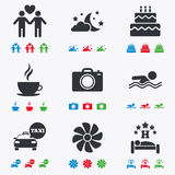 Hotel, apartment service icons. Swimming pool Royalty Free Stock Photos