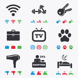 Hotel, apartment service icons. Wi-fi internet Royalty Free Stock Photo