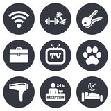 Hotel, apartment service icons. Wi-fi internet Stock Photos