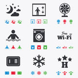 Hotel, apartment service icons. Wifi internet Royalty Free Stock Photos