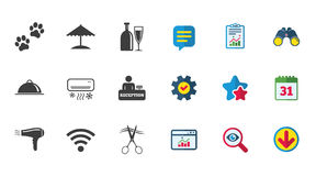 Hotel, apartment services icons. Wifi sign. Hotel, apartment services icons. Wifi internet sign. Pets allowed, alcohol and air conditioning symbols. Calendar Stock Photo