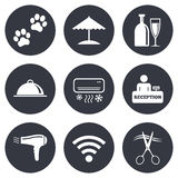 Hotel, apartment services icons. Wifi sign. Hotel, apartment services icons. Wifi internet sign. Pets allowed, alcohol and air conditioning symbols. Gray flat Royalty Free Stock Photography