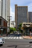 The hotel architecture in Waikiki beach Honolulu Hawaii on 5th. Of October 2018 royalty free stock images