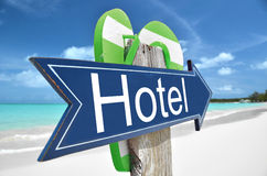Hotel arrow. On the beach Royalty Free Stock Photo
