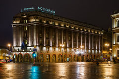 Hotel Astoria in 1 Januari, 2015 in St. Petersburg, Rusland stock foto