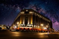Hotel Astoria. Starry night in st. Petersburg royalty free stock photos