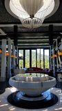 Hotel Atrium in Vietnam. A hotel atrium with a water fountain in Vietnam Royalty Free Stock Image