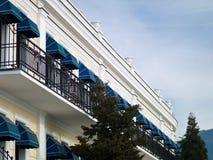 HOTEL auf dem Strand Stockfoto