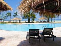 Hotel auf einem Strand Lizenzfreies Stockbild