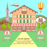 Hotel in the Austrian style, in a hilly area surrounded by nature. Vector illustration Royalty Free Stock Photos