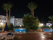 Hotel in Aya Napa. Hotel courtyard in Aya Napa,Cyprus stock images