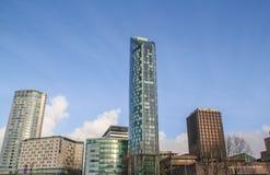 Hotel azul de Raddison y otros edificios Foto de archivo