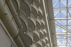 Hotel balconies and skylight. A vertical view of hotel balconies and skylight from inside an enclosed atrium at the Orlando International Airport Royalty Free Stock Photography
