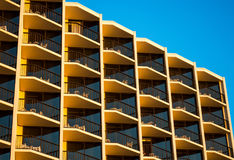 Hotel balconies at sunset Royalty Free Stock Photography