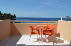 Hotel balcony with beautiful sea view Stock Images