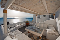 The hotel balcony with caldera view at sunset in Imerovigli of Santorini, Greece Royalty Free Stock Photos