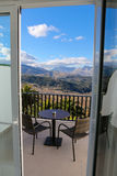 Hotel balcony and mountains in Ronda, Andalusia, Spain Stock Photos