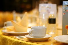 Ballroom table setting and arrangement Stock Images