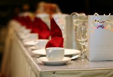 Ballroom table setting and arrangement Royalty Free Stock Image