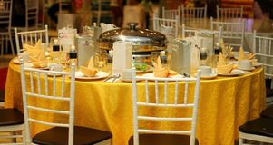 Ballroom table setting and arrangement Stock Image