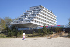 Hotel Baltic beach day in may. Jurmala, Latvia. JURMALA, LATVIA - MAY 02, 2014: Hotel Baltic beach day in may royalty free stock image