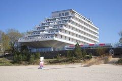 Hotel Baltic beach day in may. Jurmala, Latvia Royalty Free Stock Image
