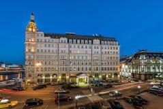 Hotel Baltschug Kempinski at dusk. Moscow. Russia. Hotel Baltschug Kempinski at dusk Royalty Free Stock Images