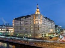 Hotel Baltschug Kempinski at dusk. Stock Photos