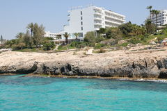 Hotel on the bank of the Mediterranean Sea Royalty Free Stock Image